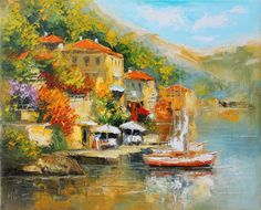 By the lakegiclee canvas print of original oil by IvMarART on Etsy