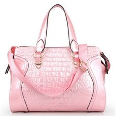 Pink Temperament Bright Patent Crocodile Pattern Leather Shoulder Bag $89.99