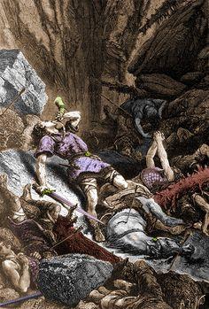 Selon la légende, lors de la bataille de Roncevaux, Roland, blessé à mort, sonne de l'olifant pour alerter son oncle Charlemagne et tente dans un dernier effort de briser sa fidèle épée Durandal sur un rocher pour ne point la laisser à l'ennemi. Celle-ci ne n'ébrèche même pas....