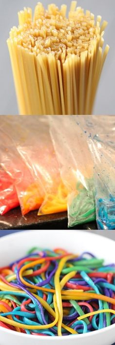 HOW TO: Make Rainbow Pasta. Kids will love this!!!! Would be fun to make school colors for special meal events.