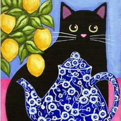 Where to pin?  Cats, dishes, lemons, or blue?  All my favorite things in one picture