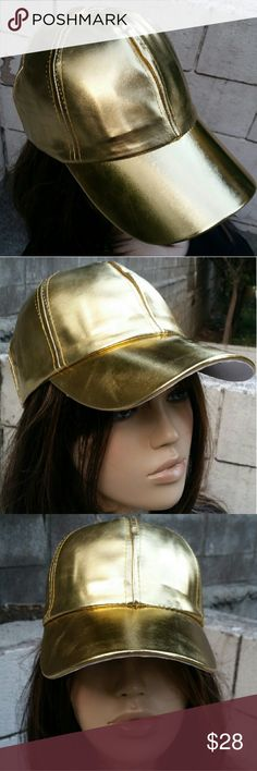Just In! NWT Gold Princess Faux Leather Cap - Beautiful and unique gold cap  - White interior  - Adjustable back size Accessories Hats