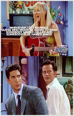 Ross and Chandler's faces... LOL