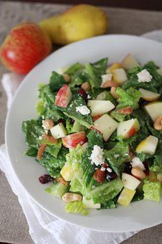 Apple, pear, cranberry, feta fall salad