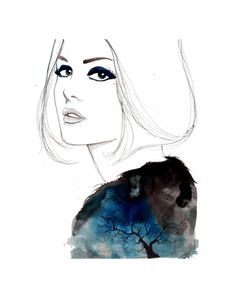 inky, sapphire, velvety blue | original watercolor, pen, and charcoal illustration by Jessica Durrant titled, The Lone Tree