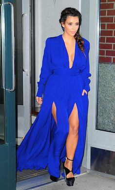It looks like Mrs. Kardashian-West got a jump start on one of this fall's 'It' colors with this cobalt gown, balancing thigh-high slits with long chiffon sleeves.