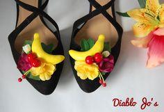 Fruit Banana Shoe Clips, Tropical, Pin Up, Camen Miranda, Rockabilly, Vintage style by DiabloJos on Etsy