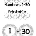 A versatile printable containing the numbers 1-30.  Works well for student numbers, student personal spaces (cubbies, coat rack, etc...), textbooks...