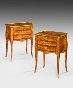 A chic pair of Louis XV style kingwood side tables, perfect for bedside tables.