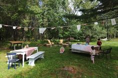 Vintage doilies, small pieces of embroidery  make a lovely party bunting.