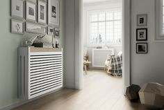 Cubreradiador of metal and wood Eslidacubreradiador Wall Heater Cover, Radiator Cover, Fireplace Design, Interior Design Inspiration, Furniture Decor, Tall Cabinet Storage, New Homes, Home Appliances, House