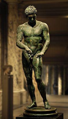 "ganymedesrocks: "" Apoxyomenos (athlete scraping his body with a strigil). Bronze. Roman copy of the bronze original by Polykleitos ca. 320 B.C. """
