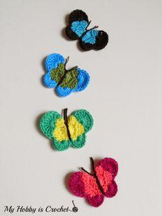 Butterfly Applique - Free Crochet Pattern Review on myhobbyiscrochet.com  ☂ᙓᖇᗴᔕᗩ ᖇᙓᔕ☂ᙓᘐᘎᓮ http://www.pinterest.com/teretegui/