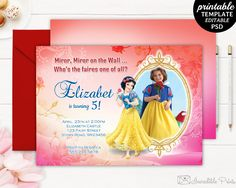 Printable Frozen Girl Birthday Invitation Template Frozen