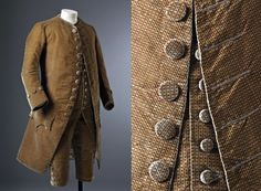 Man's silk velvet suit, England, c.1770, and detail of jacket and waistcoat fastening. costume collection at Ham House, Surrey. ©National Trust Images/John Hammond. http://www.nationaltrustimages.org.uk/image.aspx?id=194067=False