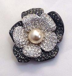 Vintage KJL Kenneth J Lane Rhinestone Pin Brooch Flower Faux Pearl Center Signed #KennethJayLane