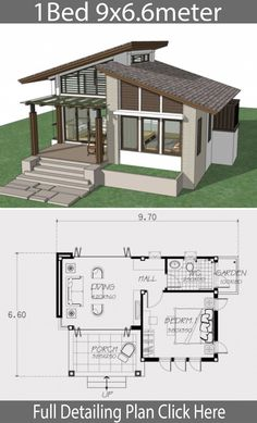 Small home design plan with one bedroom - Home Design with PlansearchYou can find Small house and more on our website.Small home design plan with . Modern House Floor Plans, Modern Bungalow House, Sims House Plans, Small House Plans, Small House Design, Modern House Design, One Bedroom House Plans, House Layouts, Planer