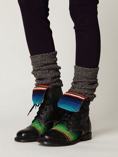 Mexican Hacienda-style patterned woven blanket lace up boot. Love these.