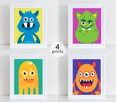 Set 4 Monsters Printable Cute Monsters Art Print by DecorartDesign