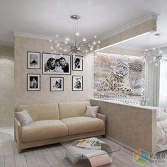 зонирование спальни / гостинной с помощью маленького перестенка и висюлек