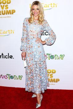 Jaime King in a pale blue floral midi dress