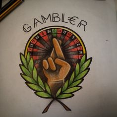 GAMBLER ROULETTE LUCKY TRADITIONAL TATTOO