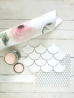 Room Challenge Week bathroom remodel diy How cute is this farmhouse mood board! Loving this fan tile and penny tile flooring with the floral wallpaper and pink vanity, such a cute bathroom remodel! Girl Bathrooms, Mold In Bathroom, Bathroom Kids, Bathroom Mirrors, Master Bathroom, Bathroom Wallpaper Floral, Wall Paper Bathroom, Girl Bathroom Ideas, Backsplash Wallpaper