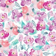 Modern Red and Purple Watercolor Flower Pattern