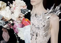 MINI MOOD BOARD: CRYSTALLIZE. Collage by Nicole Wermers with fashion by Valentin Yudashkin.  #nancyherrmann #moodboard #crystallize
