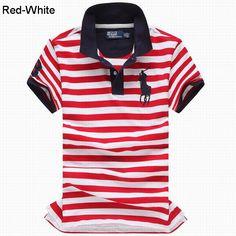 Ralph Lauren Men Custom Fit Big Pony Striped Polo Red White