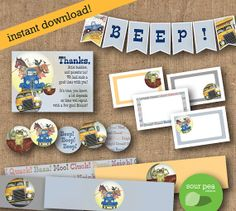 "INSTANT DOWNLOAD: DIY Printables - Party Pack - ""Little Blue Truck"""