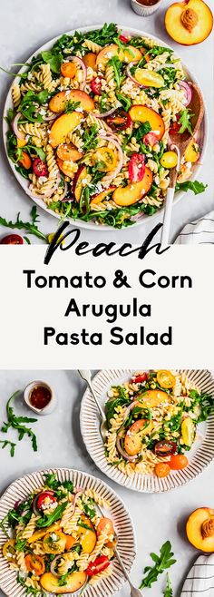Delicious peach, tomato & corn arugula pasta salad made with juicy ripe peaches, cherry tomatoes, feta and sweet corn. This easy vegetarian pasta salad is tossed with just olive oil and fresh lemon juice for a light, but flavorful salad that's perfect for lunch, parties & picnics! #pasta #pastasalad #arugula #peaches #healthylunch #potluck #summerfood #sidedish #vegetarian Vegetarian Pasta Salad, Quick Vegetarian Dinner, Easy Vegan Dinner, Easy Dinner Recipes, Summer Recipes, Pasta Recipes, Real Food Recipes, Salad Recipes, Healthy Recipes