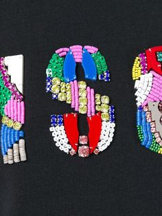 MSGM beaded logo sweatshirt - could do mix of foil and sequin