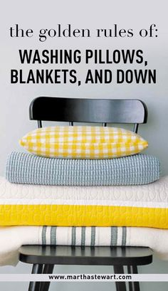 "The Golden Rules of Washing Pillows, Blankets, and Down | Martha Stewart Living - Although some experts recommend professional dry-cleaning for down and other fluffy bedding items, it is generally safe to wash them, either in the machine on  gentle cycle or by hand. Here are some nifty tips from ""Martha Stewart's Homekeeping Handbook"" on how to keep your pillows and comforters looking like new."