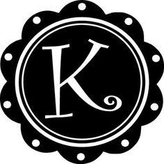 "Scallop Alphabet Curly Letter ""K"" Monogram Vinyl Wall Decal Sticker Word Art New | eBay"