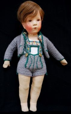Alte antike Käthe Kruse Puppe, Stoffkopf, vor 1950, grosse Fotos