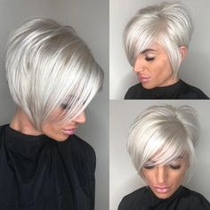 High-Shine Sleek Silver Pixie Bob - 100 Mind-Blowing Short Hairstyles for Fine Hair - The Trending Hairstyle - Page 32 Short Thin Hair, Short Hair With Layers, Short Hair Cuts, Short Hair Styles, Pixie Cuts, Platinum Blonde Bobs, Platinum Hair, Silver Blonde, White Blonde Bob