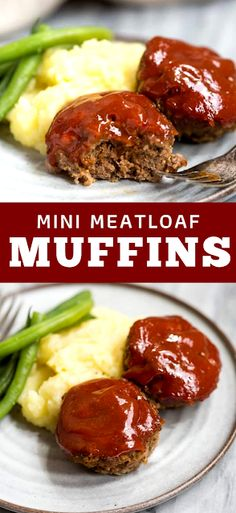 Easy Mini Meatloaf Muffins made with ground beef or ground turkey and topped with homemade bbq sauce. Easier and healthier than traditional meatloaf. - The ingredients and how to make it please visit the website Mini Meatloaf Muffins, Mini Meatloaf Recipes, Beef Recipes, Mini Muffins, Lunch Recipes, Night Dinner Recipes, Winter Dinner Recipes, Delicious Dinner Recipes, Dinner Ideas