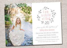 Baptism Invitation/Announcement, Girl, Boy Printable (Olive Branch baptism invite I am a Child of God)