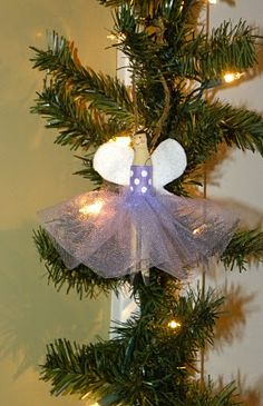 princess/angel/ballerina ornament made from a clothes pin