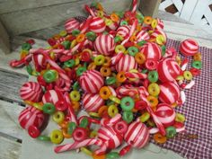Vintage Plastic Blow Mold Christmas Garland Sugared Candy Cane Peppermint life savers 30 ft - needs restrung by EvenTheKitchenSinkOH on Etsy