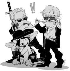 Roronoa Zoro , Sanji and Monkey D. Luffy #one piece