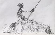 """Marcel Nino Pajot  - Don Quichotte, croquis pour """"Les Errants"""" Illustrators, Art Painting, Figurative Art Painting, Sketches, Gesture Drawing, Drawing Sketches, Art, Art Sketches, Figurative Art"""