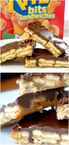Cracker Toffee. Chocolate covered toffee with peanut butter Ritz bits crackers. Easy dessert recipe. Fun twist on saltine cracker toffee recipe.