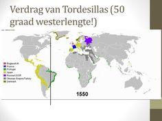 Dit is het verdrag van Tordesillas  Dat is een oud perkament waarop staat dat Portugal de ene kant van de wereld krijgt en Spanje de andere en zo dachten ze het eerlijk verdeeld te hebben en dit gebeurde allemaal in 1494.