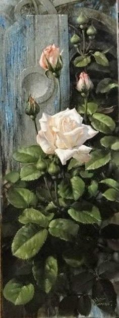 White roses oil painting