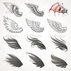Vector Set of Decorative Wings - Decorative Vectors