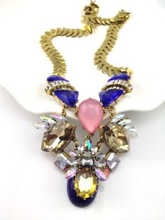 prime leader high quality fashion crystal eggerated colorful neon jewelry chain gold choker chunky statement necklace
