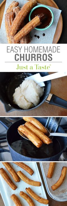 Easy Homemade Churros with Chocolate Sauce #recipe on justataste.com