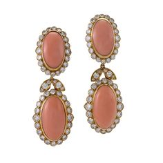 Van Cleef & Arpels Coral and Diamond Drop Earrings | From a unique collection of vintage drop earrings at https://www.1stdibs.com/jewelry/earrings/drop-earrings/
